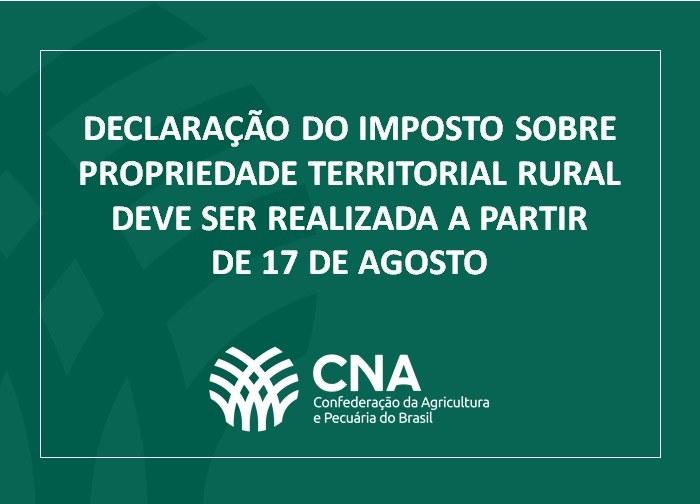 Declaração do Imposto sobre Propriedade Territorial Rural deve ser realizada a partir de 17 de agosto